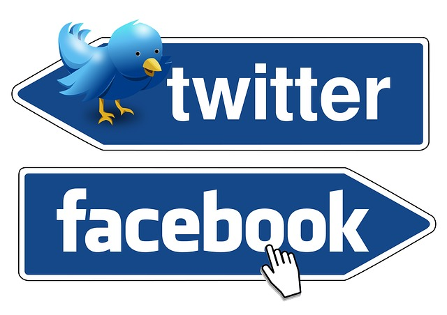 Facebook and Twitter Signs