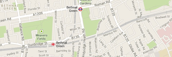 Map of Bethnal Green London E2