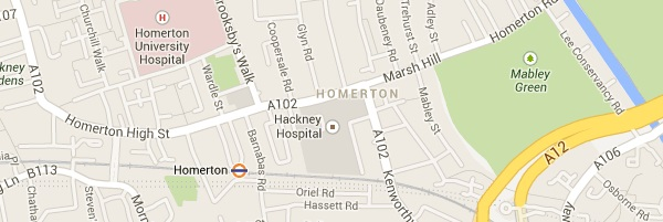 Map of Homerton London E9