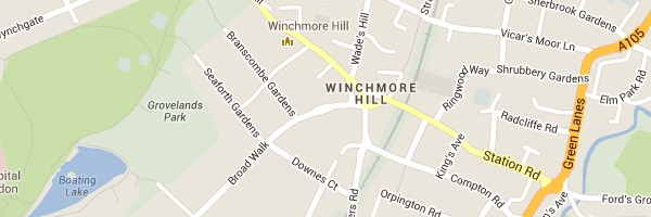 Locksmith Winchmore Hill - Map