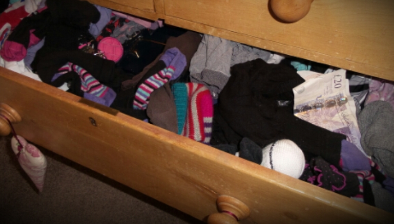 Top hiding place for valuables is the sock drawer!